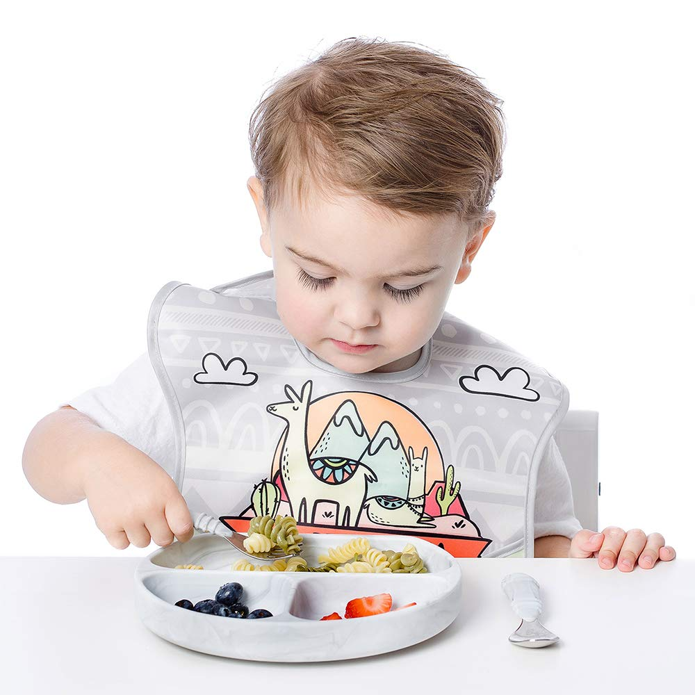 Baby Led Weaning Stage 1 for Ages 6 Months+ in Sage Training Utensils Bumkins Silicone Chewtensils Baby Fork and Spoon Set