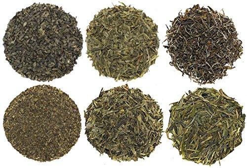Exotic and Rare Green Tea Loose Leaf Tea Sampler (6-Variety), Dragon Well, Gunpowder, Sencha, and More, Tea Leaves Variety Pack