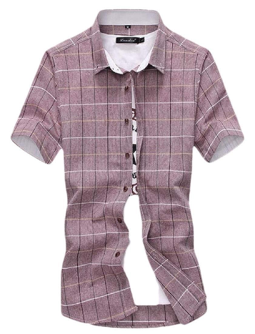 WSPLYSPJY Mens Plaid Button Down Shirts Short Sleeve Work Casual Shirt Tops