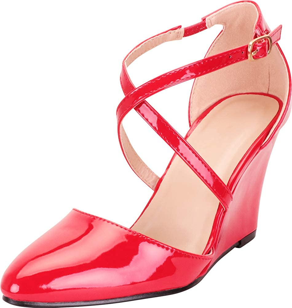 Cambridge Select Womens Pointed Toe Crisscross Strappy Dress Wedge