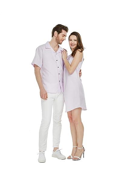 Amazon.com: Vestido de camisa de lino Luau hawaiano a juego ...
