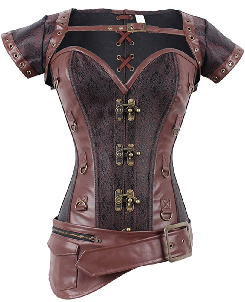 Pandolah Retro Goth Brocade Vintage Steampunk Bustiers Corsets Costumes PDLKC7617zS1