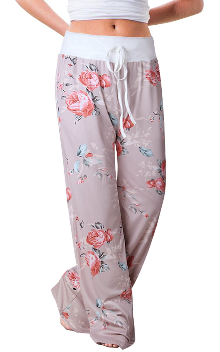 Women's Summer Pjs Pant Comfy Stretch Floral High Waist Wide Leg Lounge Palazzo Pajamas Pants (Tag XL (US 10), Khaki)