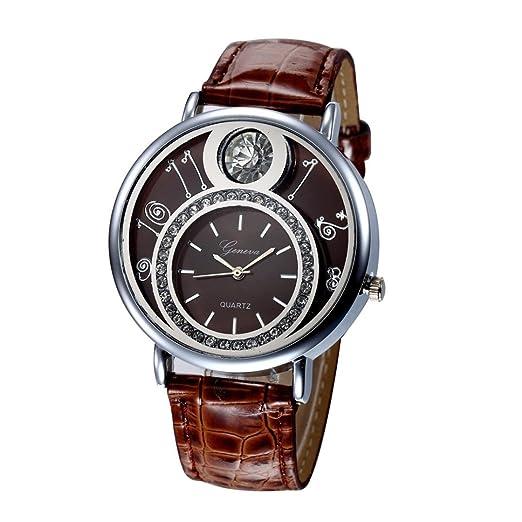 jamicy® Las mujeres diseño banda de cuero Dial reloj Vintage analógica cuarzo reloj de pulsera