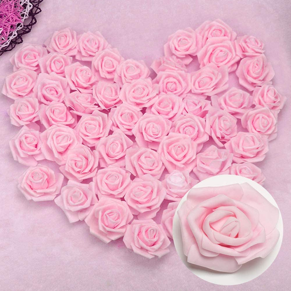3X1.4X3in Happyyous 100PCS Artificial Roses Flowers Heads Fake Foam Roses Heads for DIY Wedding Bouquets Centerpieces Arrangements Party Baby Shower Home Decorations