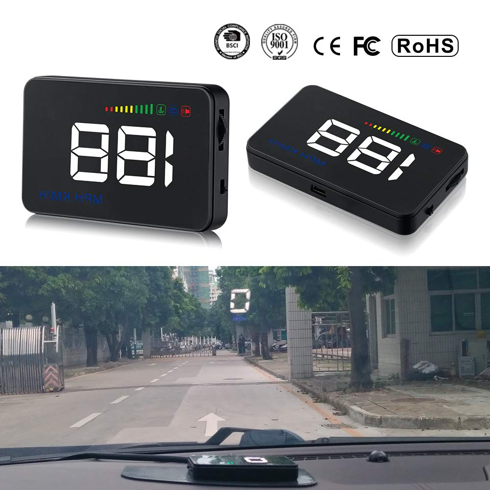 Qianbao Head Up Display Car HUD 3.5'' Windshield Screen Projector with OBD II/EU OBD Interface Plug