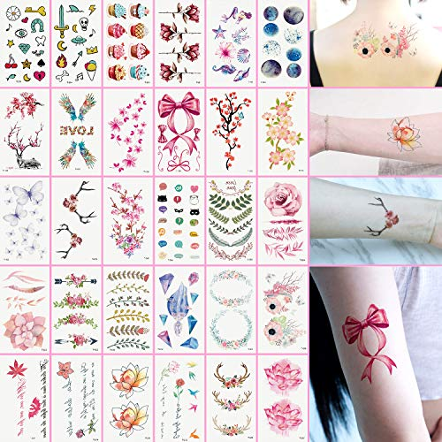 Oottati Small Cute Temporary Tattoos Kit - 30 Sheets Colorful Pink Bow Tie Leaf Flower Diamond Lotus Tree Rose Cake Planet Deer Butterfly Antlers Bouquet for Girls Adult