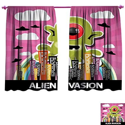 Outer Space Blackout Window Curtain Funny Giant Big One Eyed Monster City Urban Danger Attack Invasion