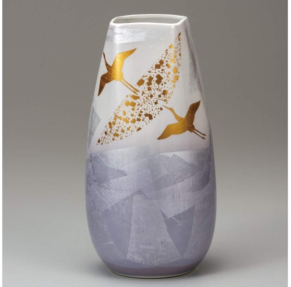 九谷焼 10号花瓶 銀彩飛翔 B07SSDT2J5