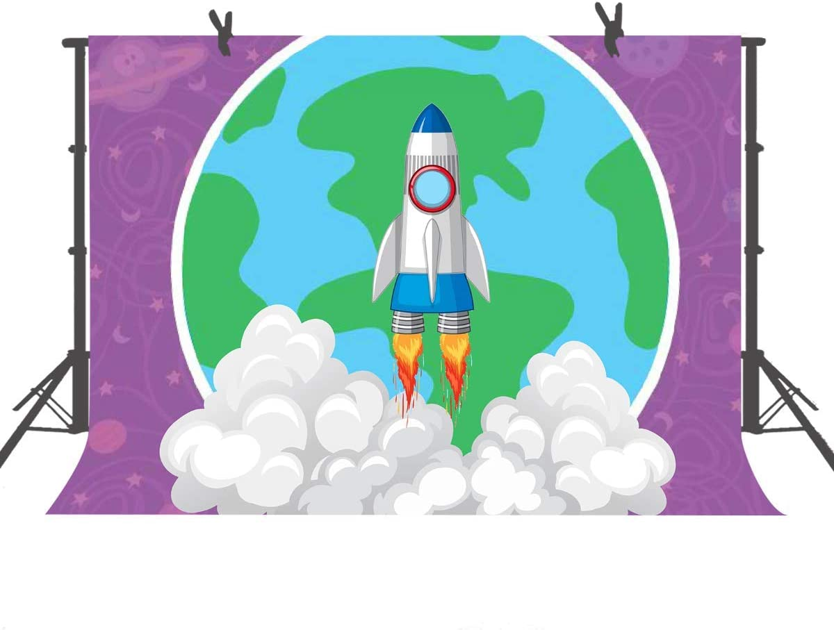 10x8ft Cartoon Space Earth Backdrop Cartoon Spaceship Theme Party Photography Background Children Kids Birthday Party Decoration Banner Prop Studio Props