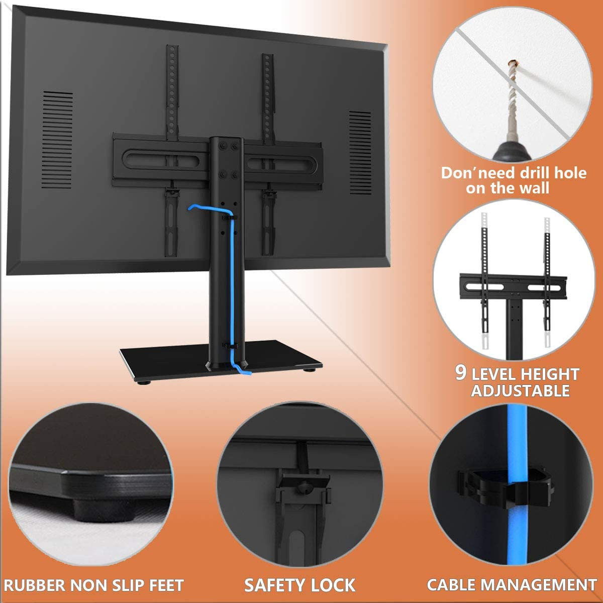 Universal TV Stand/Base Table Top TV Stand with Wall Mount for 27 ...