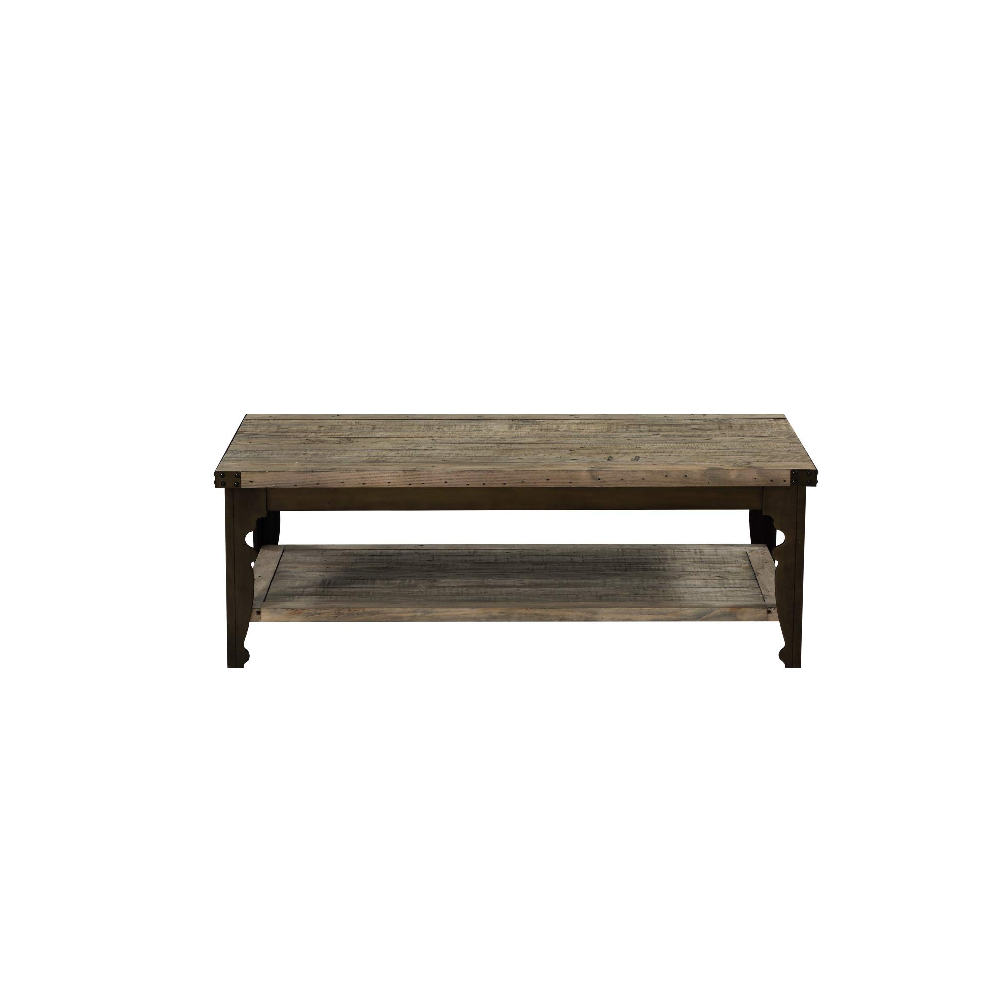 Verona 52'' Coffee Table in Natural Pine with Plank Style Top And Open Shelf, by Artum Hill
