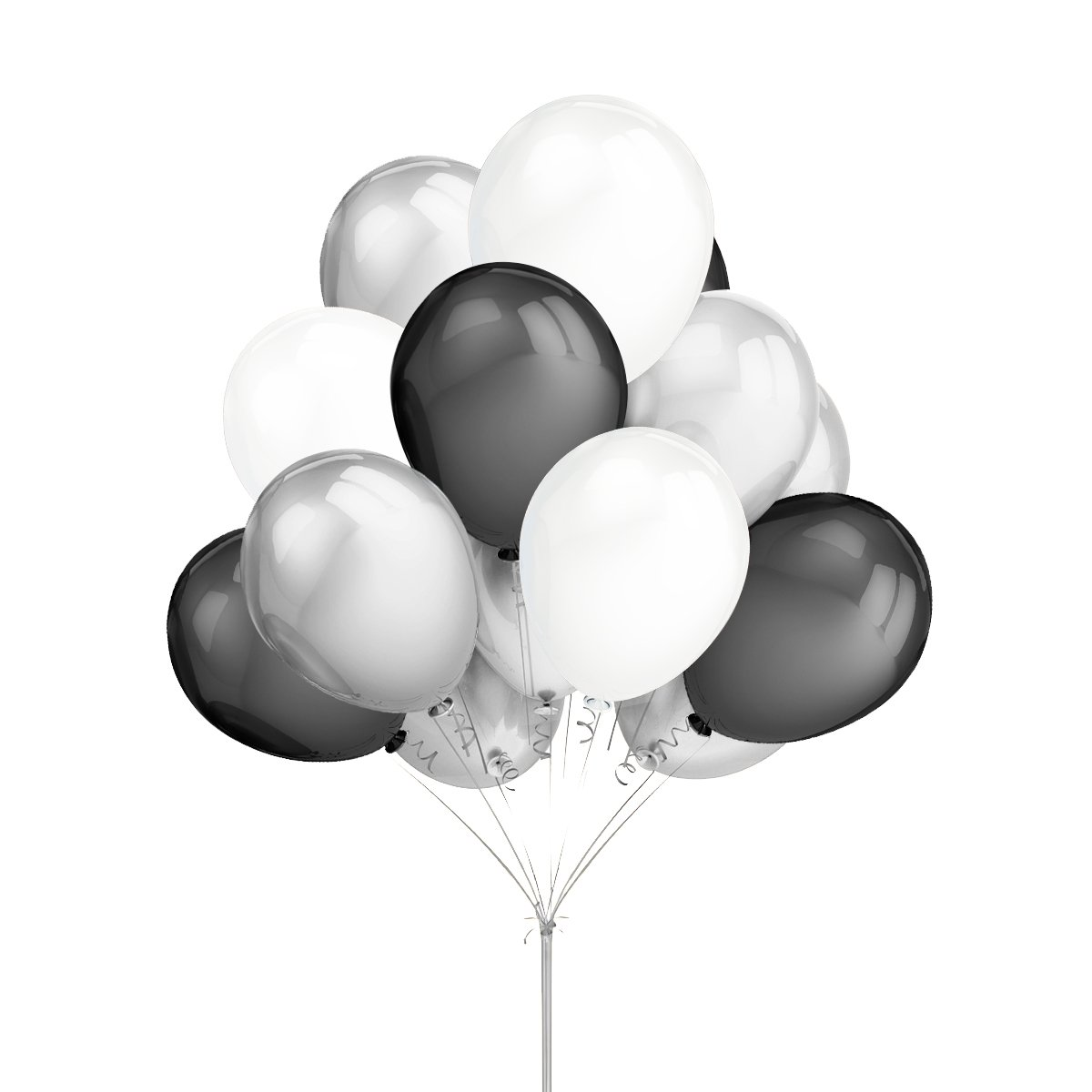 LeeSky 100Pcs 12 Inches 2.8g/pcs Thicken Round Metallic Pearlescent Latex Balloons Silver & Black & White Latex Party Balloons,Bachelorette Wedding Baby Shower Hawaii Party Decoration Supplies