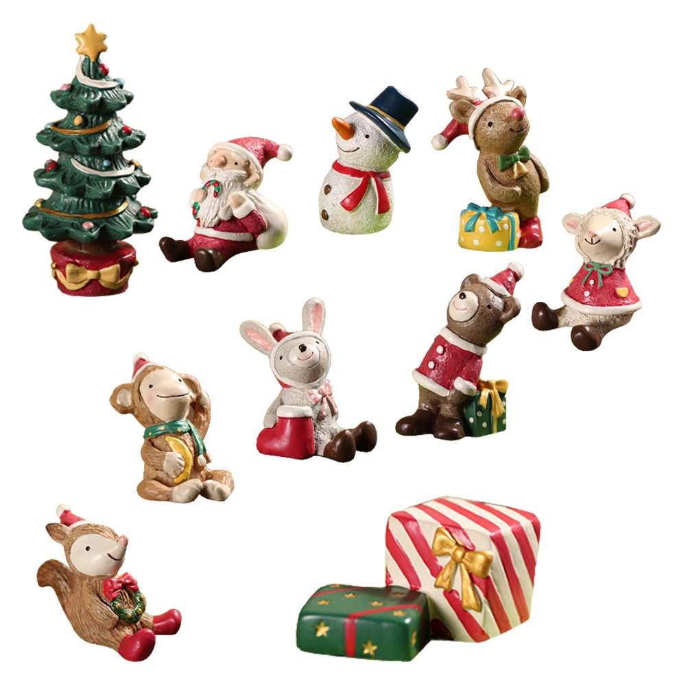 LUCKSTAR 10pcs Micro Landscape Flowerpot Resin Christmas Crafts Decor Small Ornaments Miniature Resin Decoration Artificial Small Animal Santa Claus Tree Ornaments Bonsai DIY Christmas Gift Toys