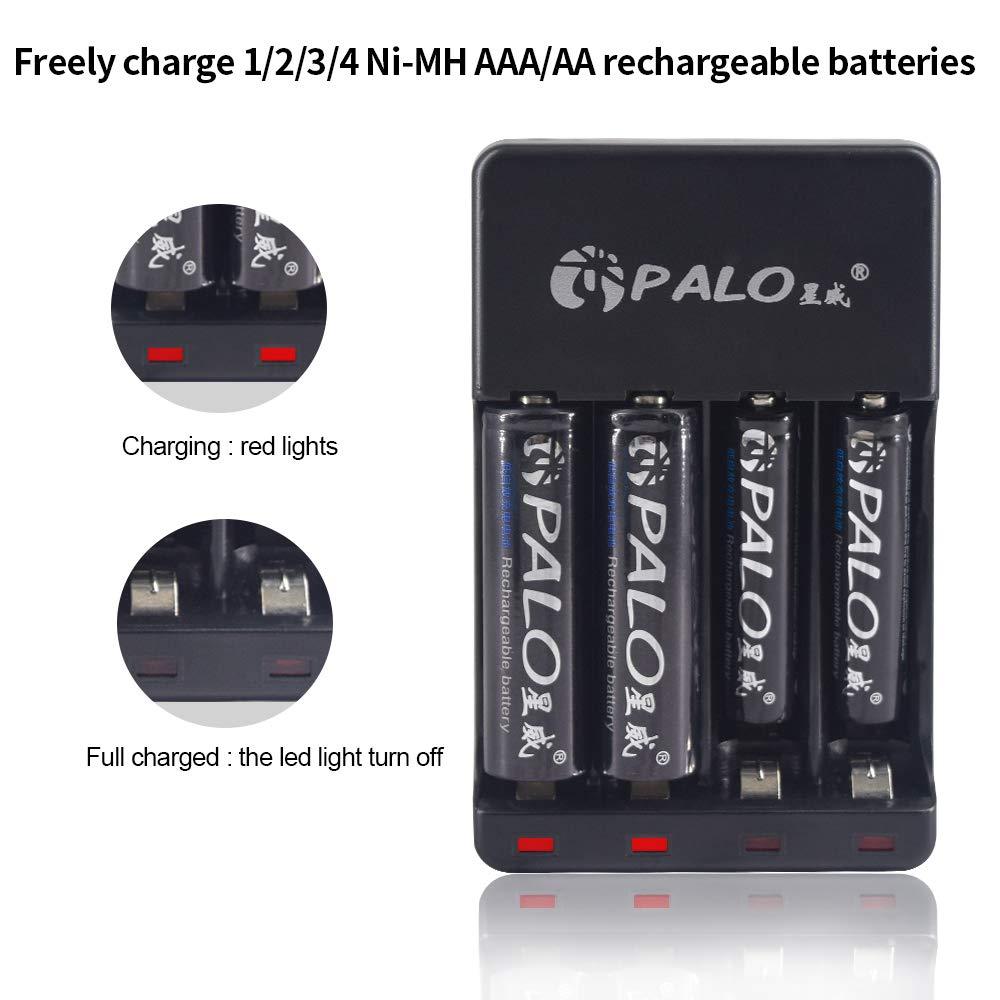 Palo USB AA & AAA Cargador de batería con Cable USB 4Bay Charger+16*AAA300 Batteries