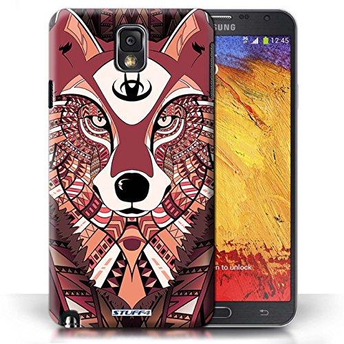 Etui / Coque pour Samsung Galaxy Note 3 / Loup-Rouge conception / Collection de Motif Animaux Aztec