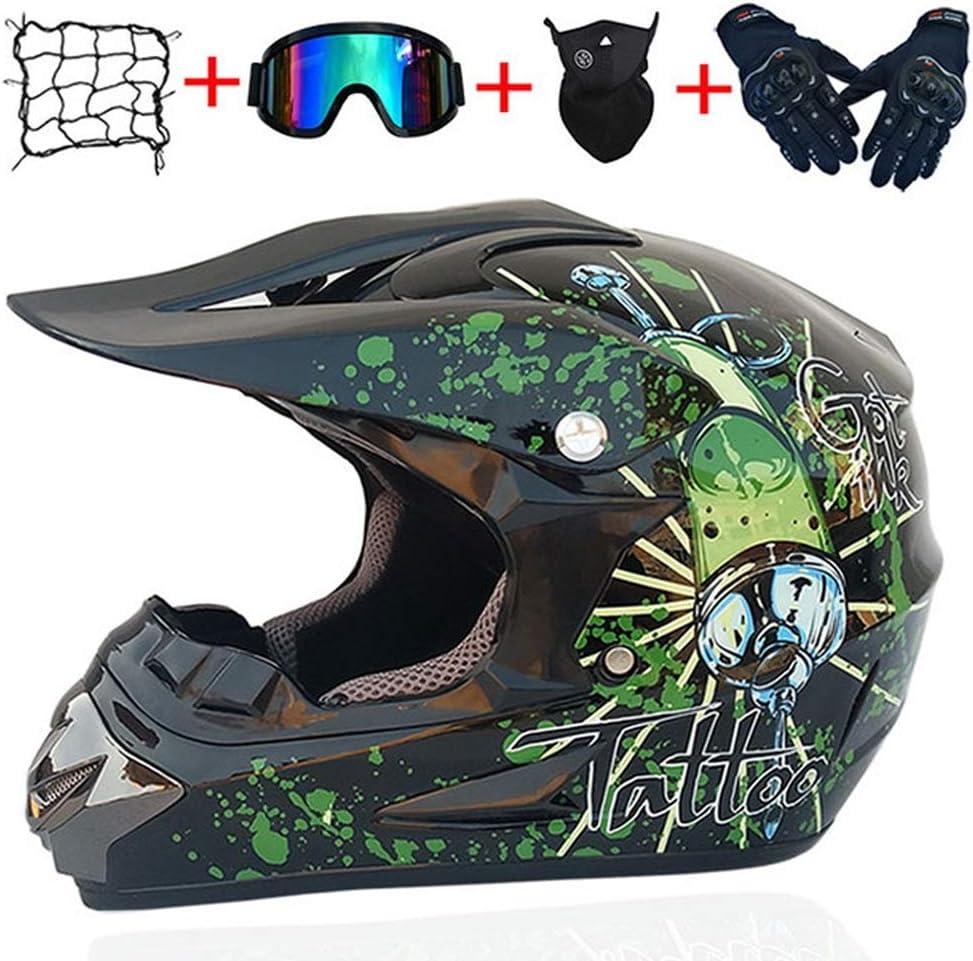 Motocross Casco Protector Conjunto, la Cara Llena de Motocross MX ATV Casco de la Motocicleta con los Guantes Gafas máscara del Casco Cubierta del Acoplamiento para Adultos