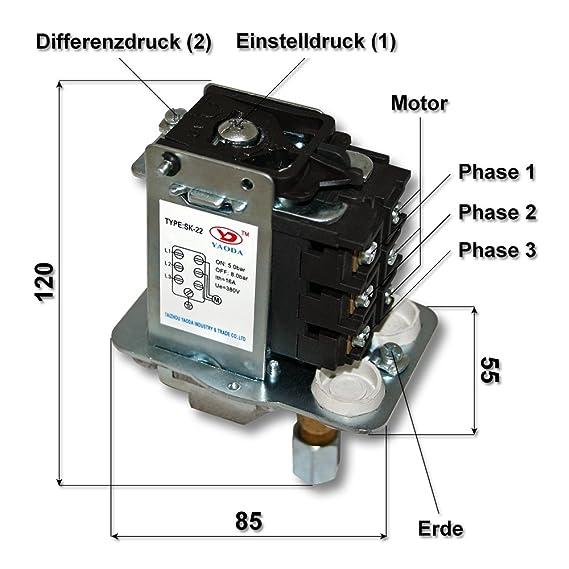 Interruptor presión 380V controlador aire para compresor compresor de aire 3 fases: Amazon.es: Bricolaje y herramientas