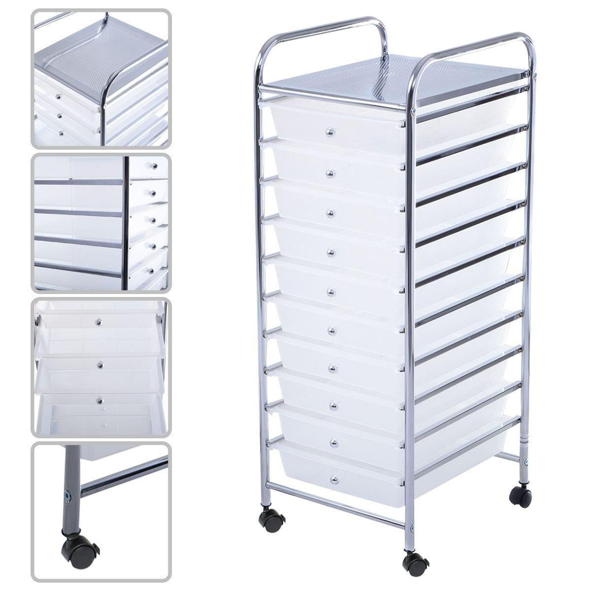 MasterPanel - 10 Drawer Rolling Storage Cart Scrapbook Paper Office School Organizer Clear #TP3308