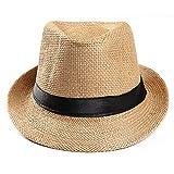 Unisex Trilby Gangster Cap Beach Sun Straw Hat Band Sunhat Khaki