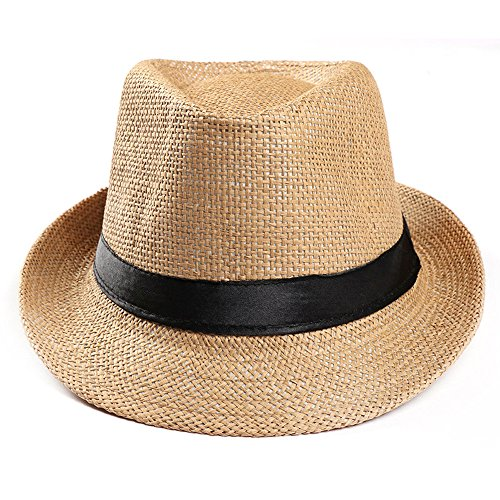 Sanyyanlsy Unisex Roll Up Floppy Sun Hat Wide Brim Black Band Sun Protection Cap Summer Outdoors Plaid Straw Sun Hat