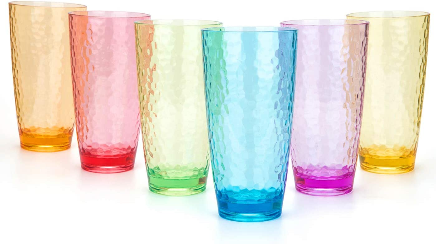 Hammered 26-ounce Plastic Tumbler Acrylic Glasses, set of 6 Multicolor