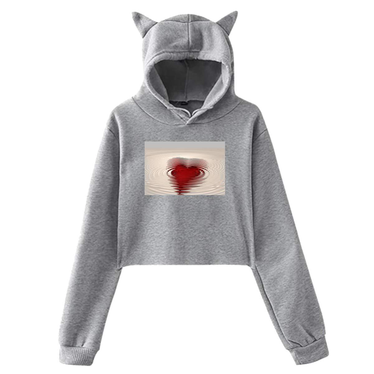Personality Girl Cat Ears Umbilical Hoodie Fashion Sweatshirt Sweater Gray