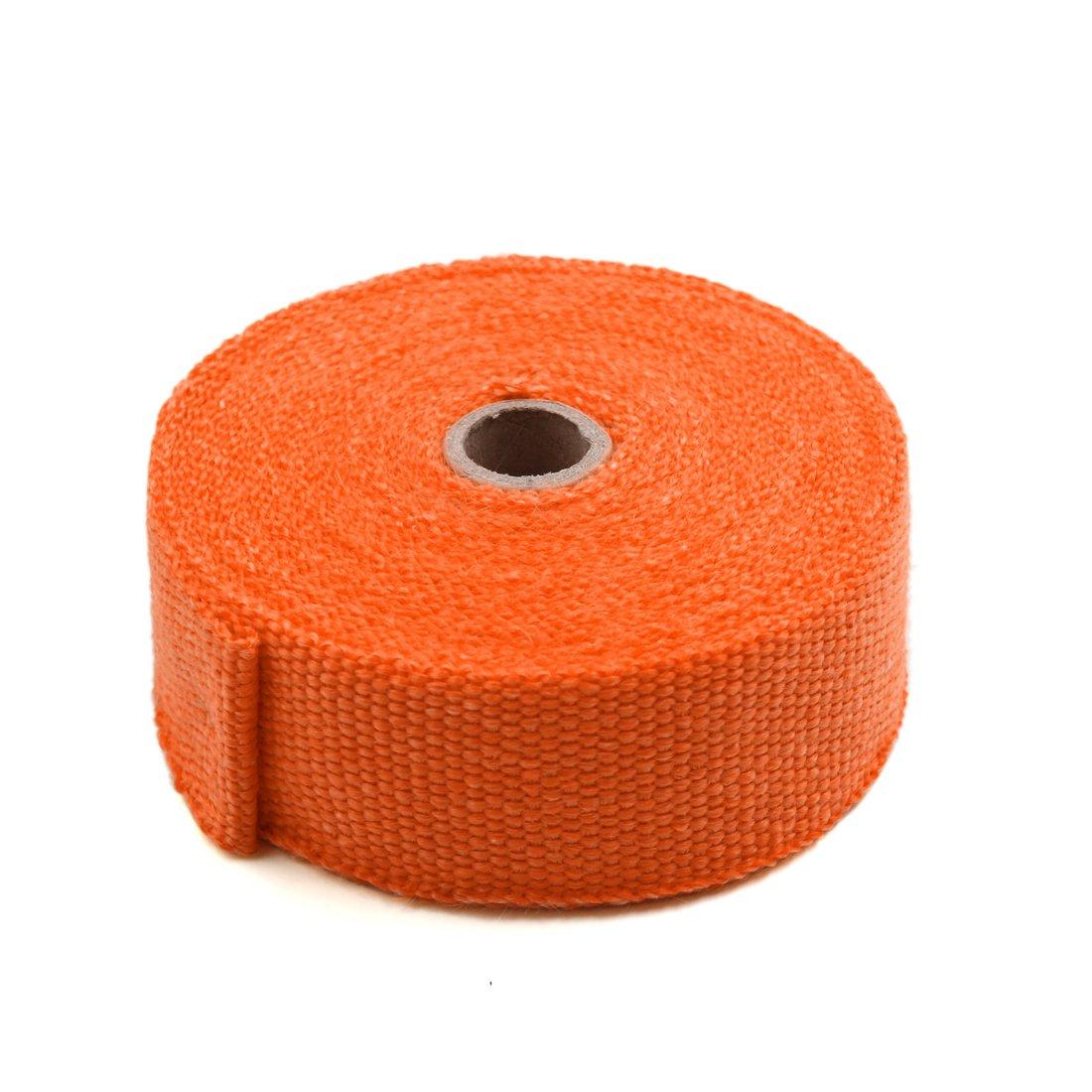 Sourcingmap Orange 10M Length Fiberglass Cloth Car Exhaust Pipe Heat Insulation Wrap Tape