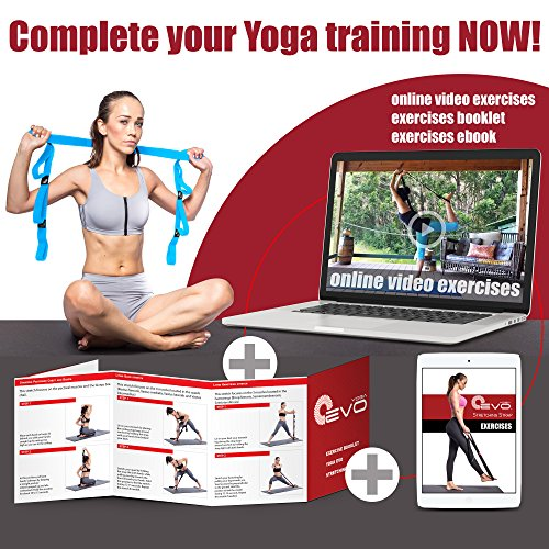 Yoga EVO Stretching Strap with Loops for Physical Therapy Yoga, Exercise and Flexibility, Elastic Fitness Stretch Band…