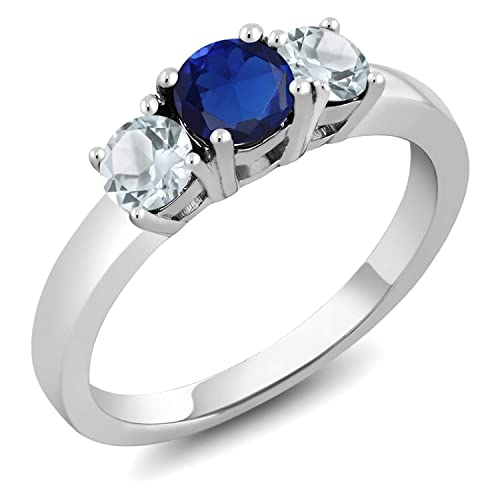 Gem Stone King 0.99 Ct Round Blue Simulated Sapphire Sky Blue Aquamarine 925 Sterling Silver Ring Available 5,6,7,8,9