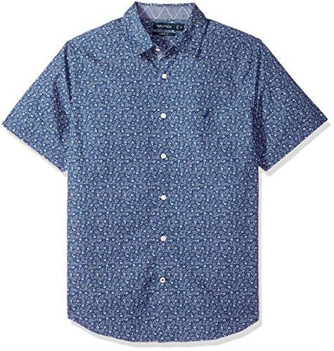 Nautica Mens Short Sleeve Signature Print Button Down Shirt