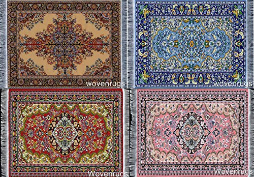 Set of 4 Rug Table Coasters – Oriental Design Fabric Carpet Drink Mats
