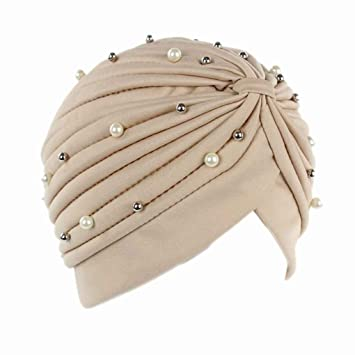 QHGstore Mujer Chemo plisado Pre cabeza atada cubierta hasta Bonnet Sun Turbante Cap rojo