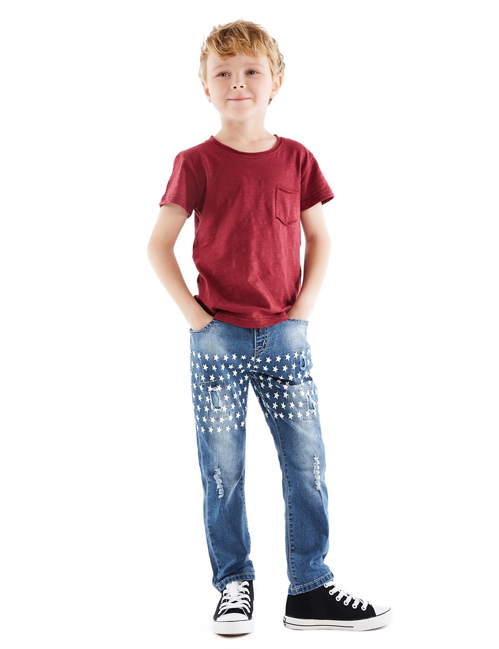 HOLLAGLEE Star Ripped Skinny Boys' Jeans Slim Fit Pants Kids Big Boys Star-series