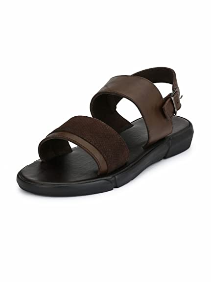 aea9fc6a7 Guava Men Anti-Sweat Leather Sandals - Brown  Buy Online at Low Prices in  India - Amazon.in