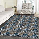 Moroccan Rugs for Bedroom Abstract Composition with Ancient Cultural Rich Flora and Arabian Design Elements Circle Rugs for Living Room 4'x5' Multicolor