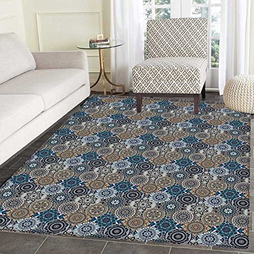 Moroccan Rugs for Bedroom Abstract Composition with Ancient Cultural Rich Flora and Arabian Design Elements Circle Rugs for Living Room 4'x5' Multicolor by Carl Morris