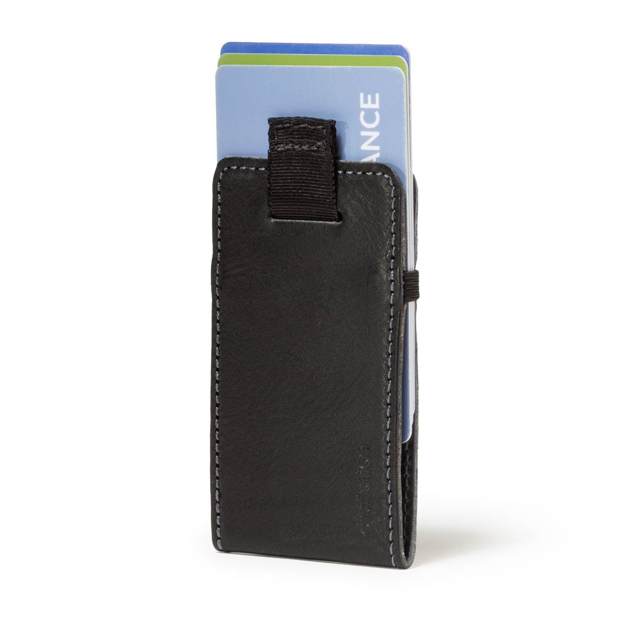 Distil Union Wally Micro - Premium Leather Minimalist Wallet and Card Holder (Black/Gray)
