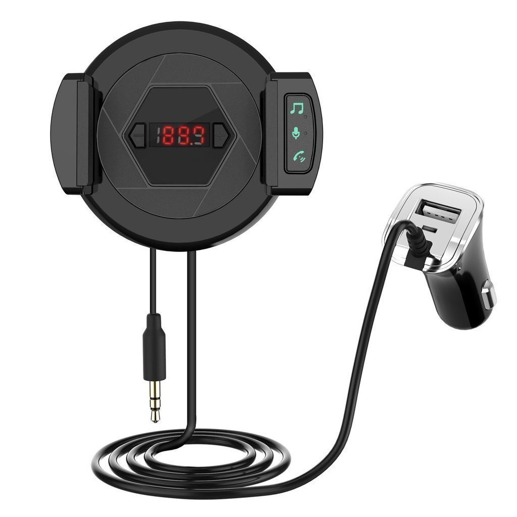 Wireless Bluetooth FM Transmitter Radio Adapter Audio Receiver Stereo Car Kit With USB Fast Car Charger Hands Free Calling Phone Holder for iPhone,Android and MP3 etc.