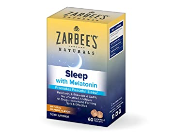 Zarbees Naturals Sleep with Melatonin, Natural Orange Flavor Chewable Tablets for Natural, Restful Sleep