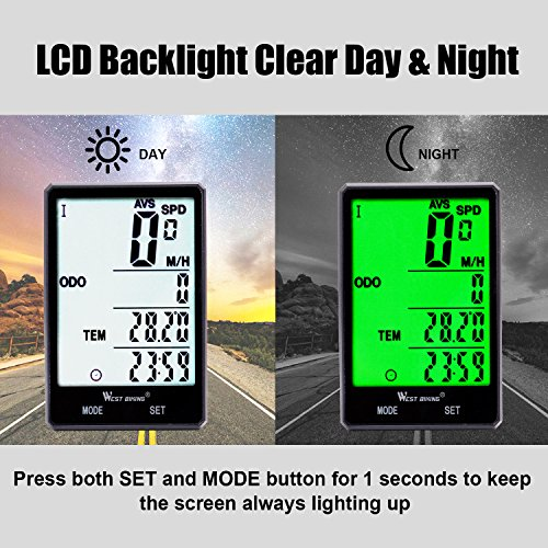 Wireless Bicycle Speedometer Waterproof Cycling Computer with LCD Green Backlight, Cycle Bike Odometer 15 Functions Speed compare record AVS SPD ODO MXS TM COLOCK etc, Bike Accessories for Riders by WESTGIRL (Image #7)