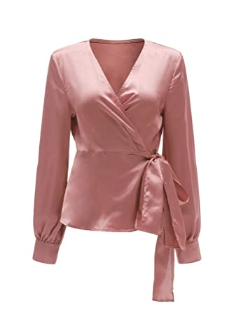 92d217961a SheIn Women's V Neck Long Sleeve Satin Knotted Hem Wrap Blouse X-Small Pink#