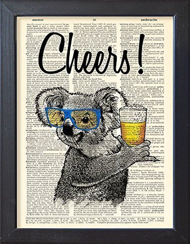 Koala Cheers poster, beer drink print, Bar decor, book page artwork
