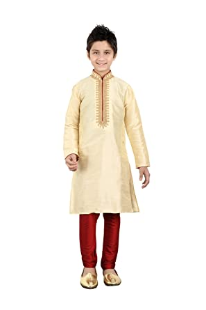 7ec7148240 Amazon.com: daindiashop-USA Baby/Boy Readymade Kurta Pajama Indian Designer  Partywear Dress For Kid In Gold Art Silk: Clothing