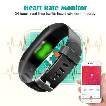 Montre Connectée, Trswyop Cardiofréquencemètre Bracelet Connecté Podomètre Etanche IP67 Femme Homme Enfant Sport Cardio Fitness Tracker dActivité Tension ...