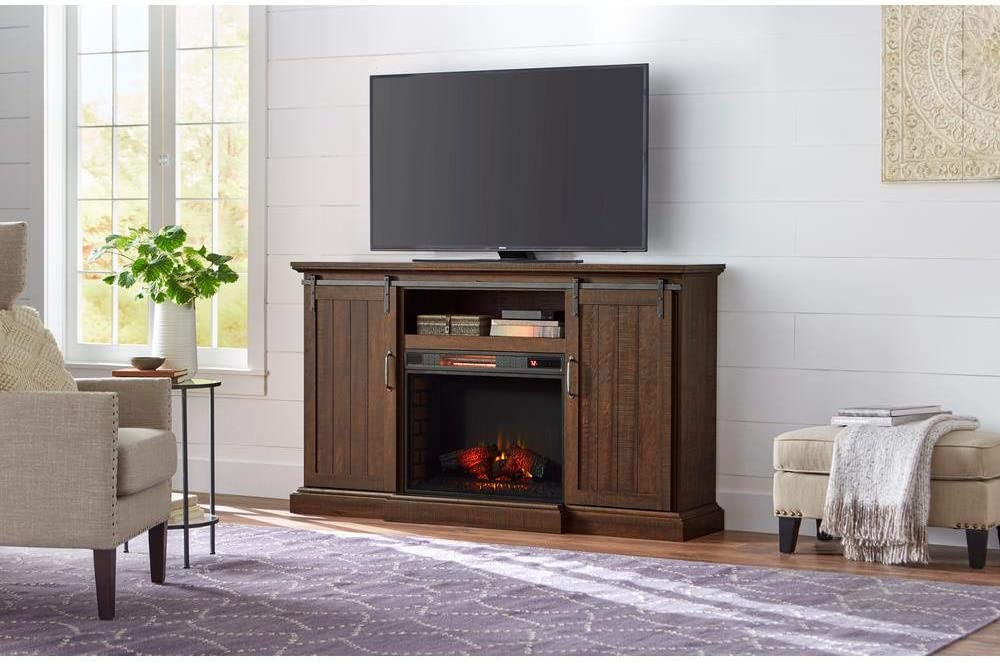 Home Decorators Collection Chastain 68 In Freestanding Media Console Electric Fireplace Tv Stand With Sliding Bar Door In Rustic Walnut Home Kitchen