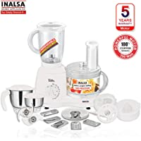 Inalsa Food Processor Wonder Maxie Plus V2 700 - Watt with Blender Jar, Dry Grinding Jar, Chutney Jar, 11 Accessories| 5 Yr Warranty on Motor | Citrus and Centrifugal Juicer | Made in India | (White)