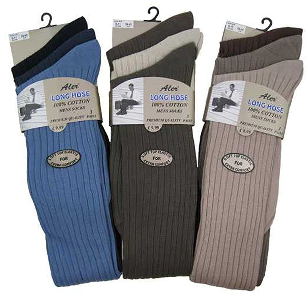 6 Pairs Mens 100% Cotton Traditional long Hose, Knee high Fashion Colours Socks with grip top (002-Long-Fsh)