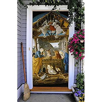 Nativity Scene Entry Door Cover Banner Full Color Front Outdoor Holy Night  Christmas Decoration For House