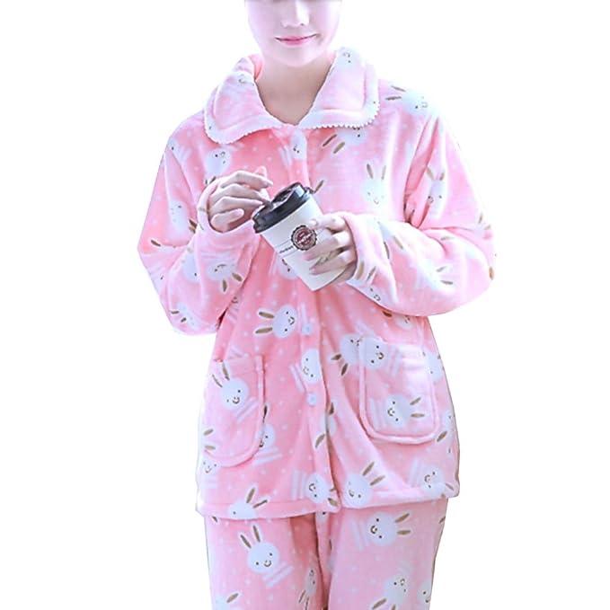 Traje de pijama de franela de mujer más grueso # 05